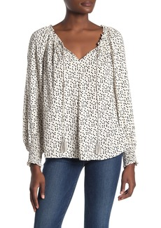 Max Studio Tie Neck Peasant Blouse