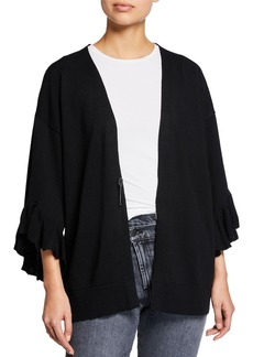 Max Studio Tiered Bell-Sleeve Open Cardigan