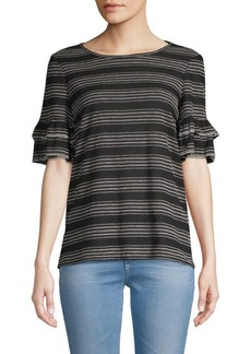 Max Studio Tiered-Sleeve Striped Top