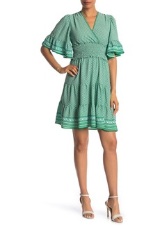 Max Studio Tiered Smocked Waist Surplice Dress