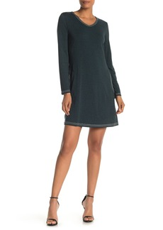 Max Studio Topstitched Long Sleeve Shift Dress