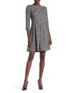 Max Studio Tweed 3/4 Sleeve Pleated Dress