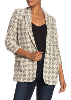 Max Studio Tweed 3/4 Ruched Sleeve Blazer