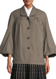 Max Studio Tweed Bubble-Sleeve Button-Front Jacket