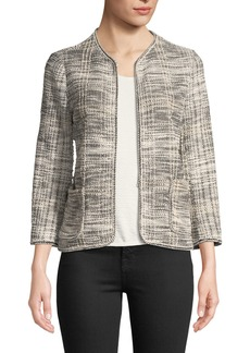 Max Studio Tweed Knit Long-Sleeve Jacket