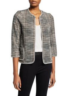 Max Studio Tweed Knit Long-Sleeve Jacket