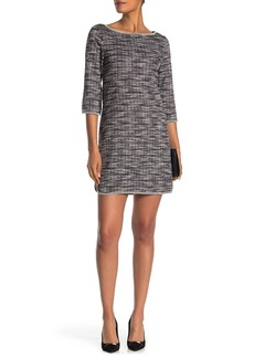Max Studio Tweed Pattern Boatneck Shift Dress