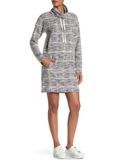 Max Studio Tweed Pattern Funnel Neck Sweatshirt Dress