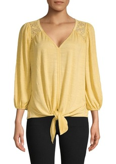 Max Studio V-Neck Balloon-Sleeve Top