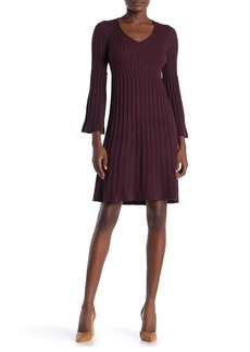 Max Studio V-Neck Bell Sleeve Ribbed Sweater Dress