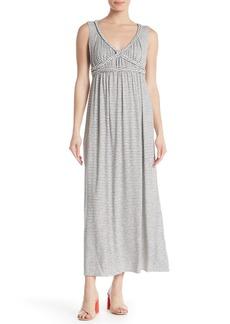 Max Studio V-Neck Braided Trim Stripe Maxi Dress