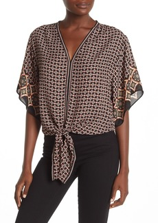 Max Studio V-Neck Front Tie Pattern Print Top