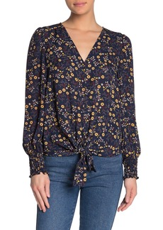 Max Studio V-Neck Patterned Tie Hem Blouse