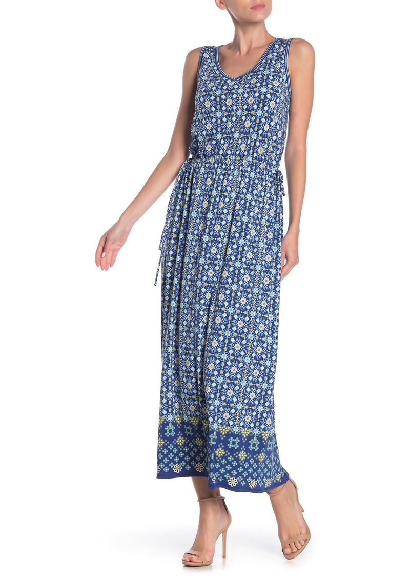 Max Studio V-Neck Printed Maxi Dress
