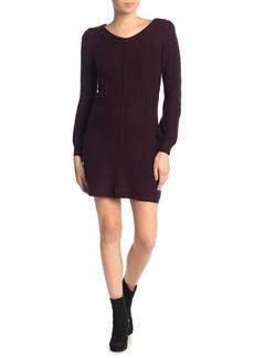 Max Studio V-Neck Puff Sleeve Sweater Dress