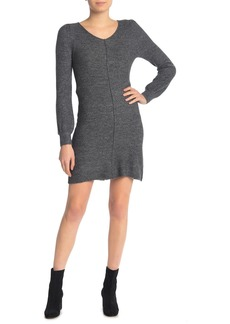 Max Studio V-Neck Puff Sleeve Sweater Dress