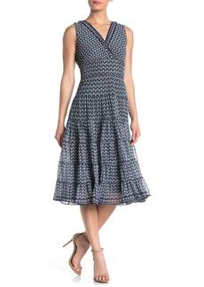 Max Studio V-Neck Sleeveless Mesh Midi Dress