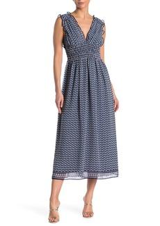 Max Studio V-Neck Sleeveless Midi Dress