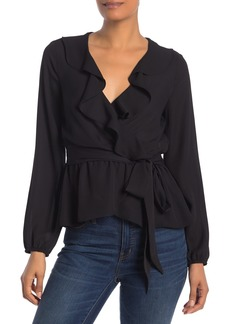 Max Studio Wrap Front Ruffle Neck Blouse
