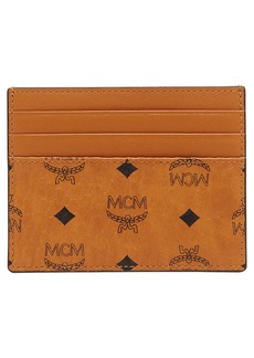 MCM Mini Visetos Canvas Card Case with Money Clip