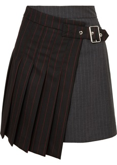 McQ Alexander McQueen Asymmetric Pinstriped Grain De Poudre And Wool Skirt
