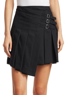 McQ Alexander McQueen Asymmetric Pleated Wool Mini Skirt