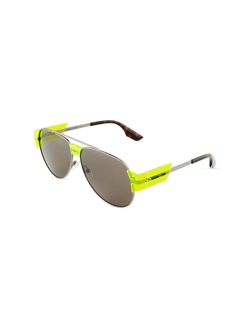 e4bb63a715e64 McQ Alexander McQueen Aviator Metal Plastic Sunglasses