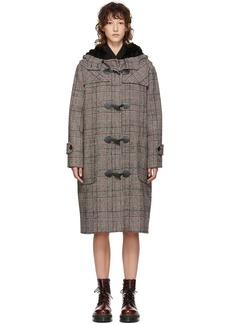 McQ Alexander McQueen Black & White Houndstooth Duffle Coat