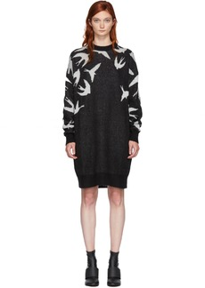 McQ Alexander McQueen Black & White Swallow Swarm Dress