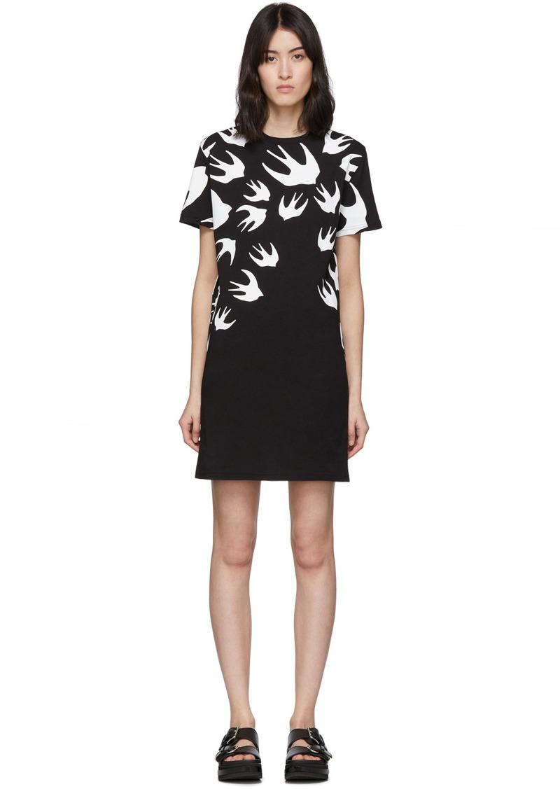 McQ Alexander McQueen Black & White Swallow T-Shirt Dress