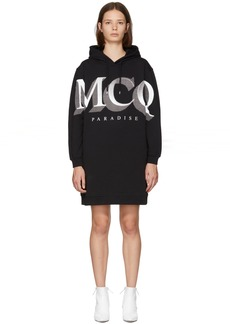 McQ Alexander McQueen Black Logo Oversized Hoodie Dress