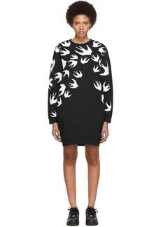 McQ Alexander McQueen Black Swallow Signature Sweatshirt Dress
