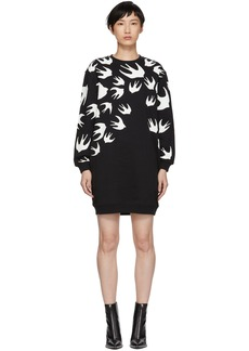 McQ Alexander McQueen Black Swallow Signature Sweatshirt Dress