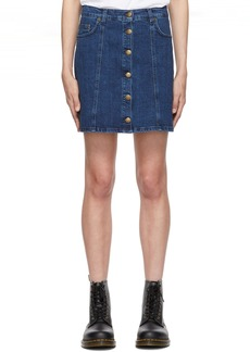 McQ Alexander McQueen Blue Denim Button Up Miniskirt