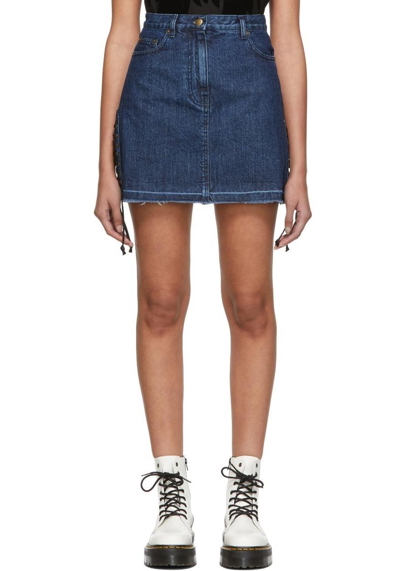 McQ Alexander McQueen Blue Denim Laced Miniskirt