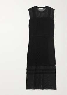 McQ Alexander McQueen Bralette Crocheted Cotton And Stretch-tulle Midi Dress