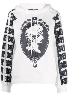 McQ Alexander McQueen cameo print textured sleeve hoodie