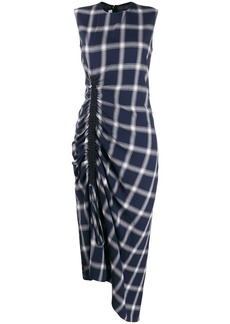 McQ Alexander McQueen checked asymmetric dress