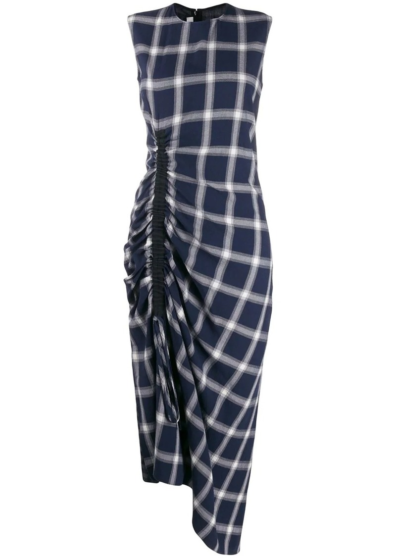 McQ Alexander McQueen checked asymmetric dress