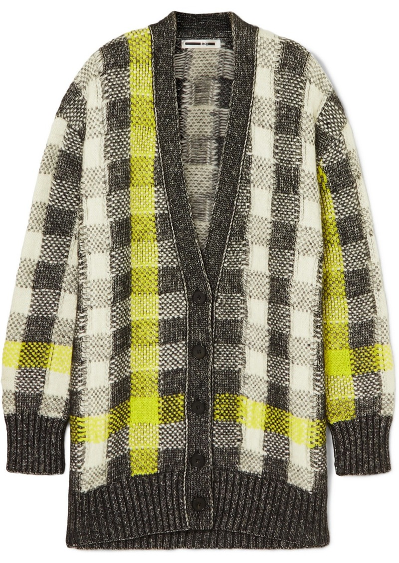 McQ Alexander McQueen Checked Knitted Cardigan