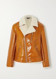 McQ Alexander McQueen Coated Shearling Biker Jacket