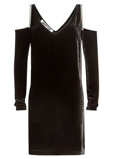 McQ Alexander McQueen Cold Shoulder Velvet Dress with Embellishment