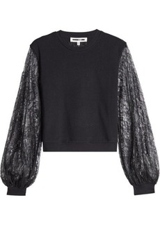 McQ Alexander McQueen Cotton Sweatshirt with Lace Sleeves