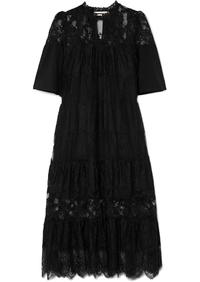 McQ Alexander McQueen Cotton-trimmed Tiered Lace Dress