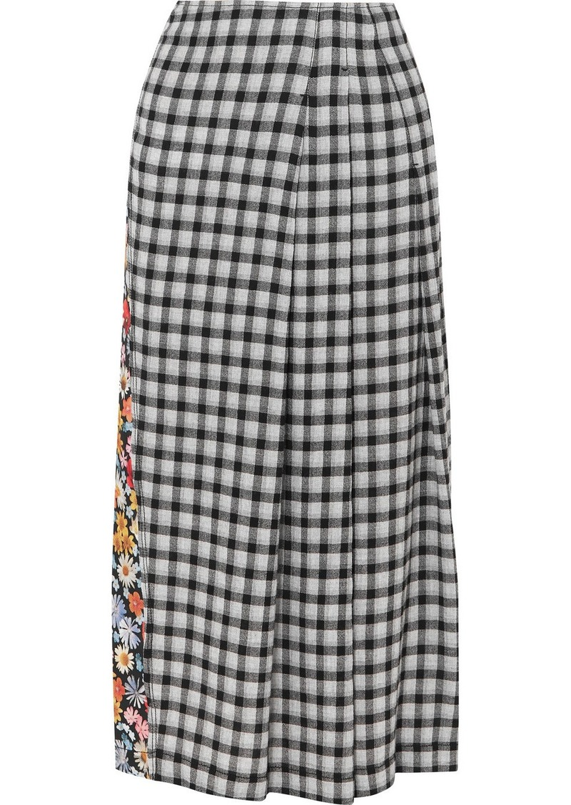McQ Alexander McQueen Decon Paneled Floral-print Crepe And Checked Flannel Midi Skirt