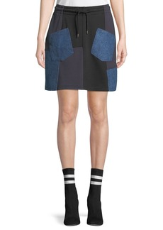 McQ Alexander McQueen Denim-Patch Drawstring Short Skirt