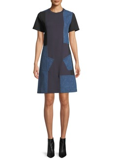 McQ Alexander McQueen Denim Patch Short-Sleeve Tee Dress
