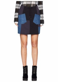 McQ Alexander McQueen Denim Patched Skirt