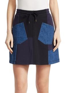McQ Alexander McQueen Denim Patchwork Mini Skirt