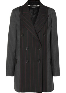 McQ Alexander McQueen Double-breasted Paneled Pinstriped Grain De Poudre And Wool Blazer